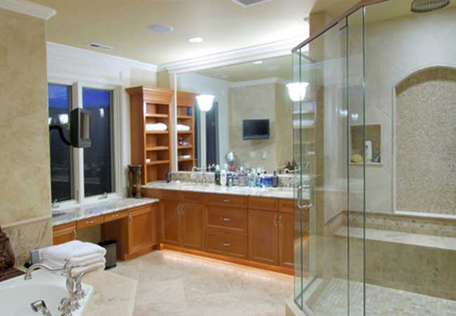 Luxury features including large showers and enhanced lighting and storage built by Prominent Builders NJ