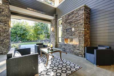 a fireplace extends time to enjoy the outside