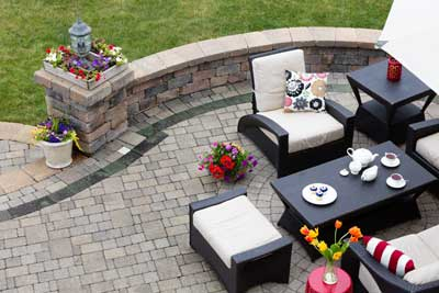 hardscape pavers enhance outdoor sitting area