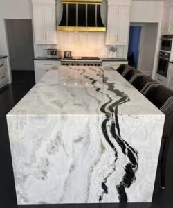 Many high-end kitchen remodels have islands with a waterfall end