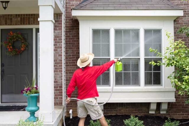 Power-washing your home exterior and driveway is a good spring project